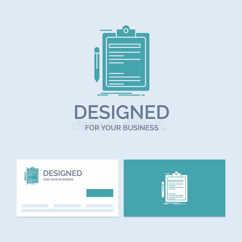 Contract, check, Business, done, clip board Business Logo Glyph Icon Symbol for your business. Turquoise Business Cards with Brand royalty free illustration