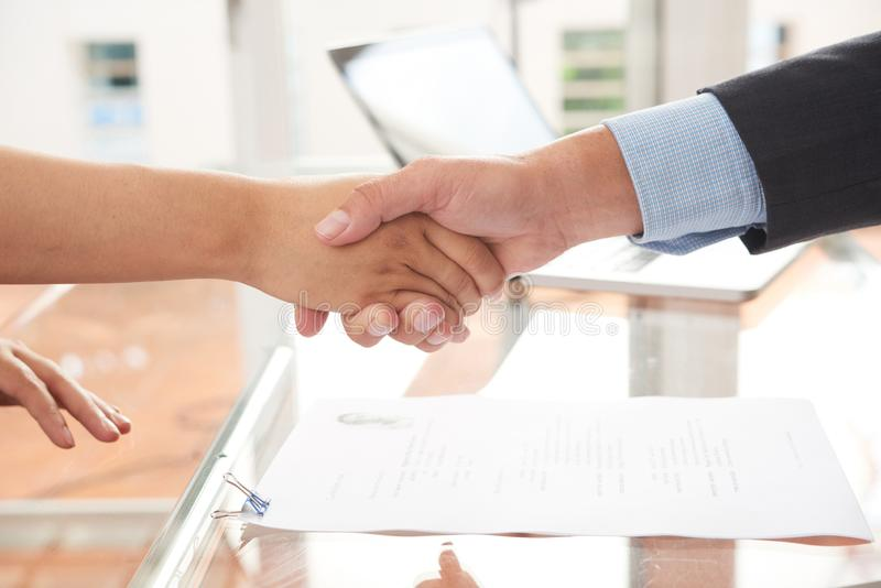 Contract conclusion at office royalty free stock photography