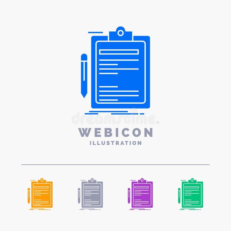 Contract, controle, gedaane Zaken, klembord 5 geïsoleerde het Malplaatje van het het Webpictogram van Kleurenglyph van wit Vector vector illustratie
