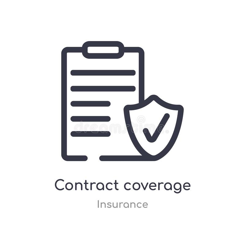 contract coverage outline icon. isolated line vector illustration from insurance collection. editable thin stroke contract royalty free illustration
