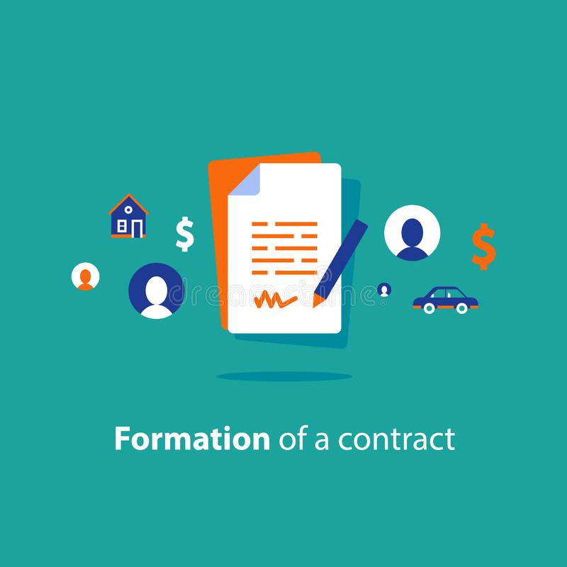 Contract creation service, document formation last will, prenup term conditions, divorce property separation, settlement agreement stock illustration