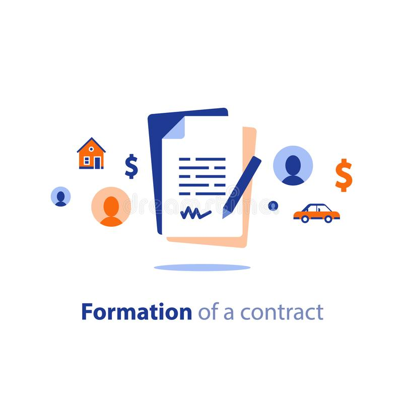 Contract creation service, document formation last will, prenup term conditions, divorce property separation, settlement agreement. Contract creation service vector illustration