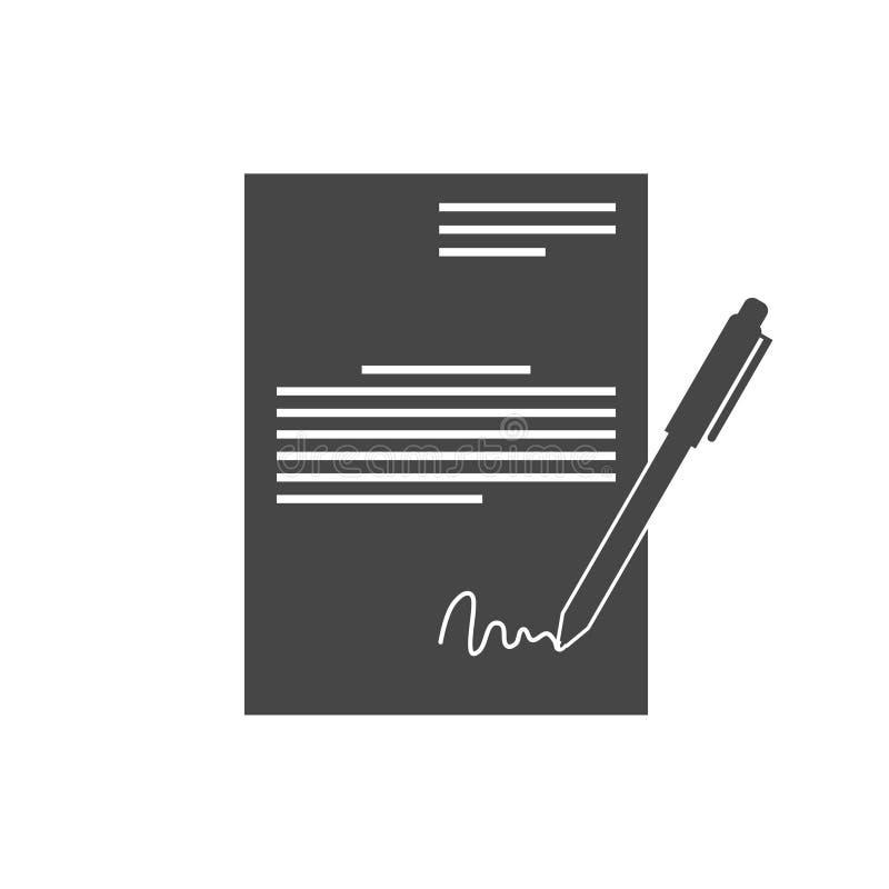 Contract die Wettelijk Overeenkomstenconcept, eenvoudig vectorpictogram ondertekenen stock illustratie