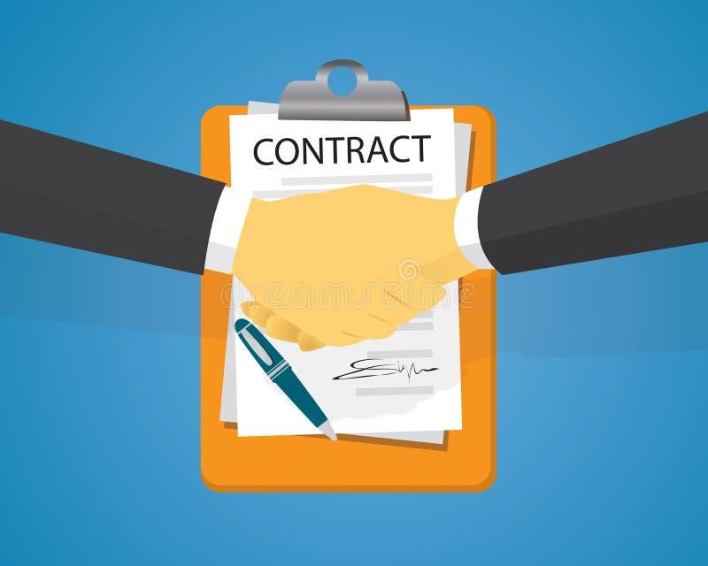 Contract die Wettelijk Overeenkomstenconcept ondertekenen Vector illustratie royalty-vrije illustratie