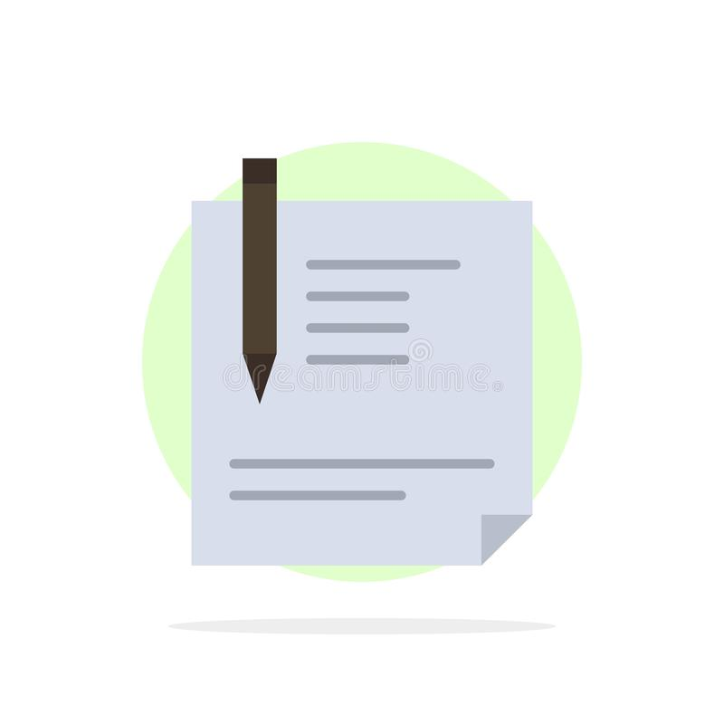 Contract, Document, File, Page, Paper, Sign, Signing Abstract Circle Background Flat color Icon royalty free illustration