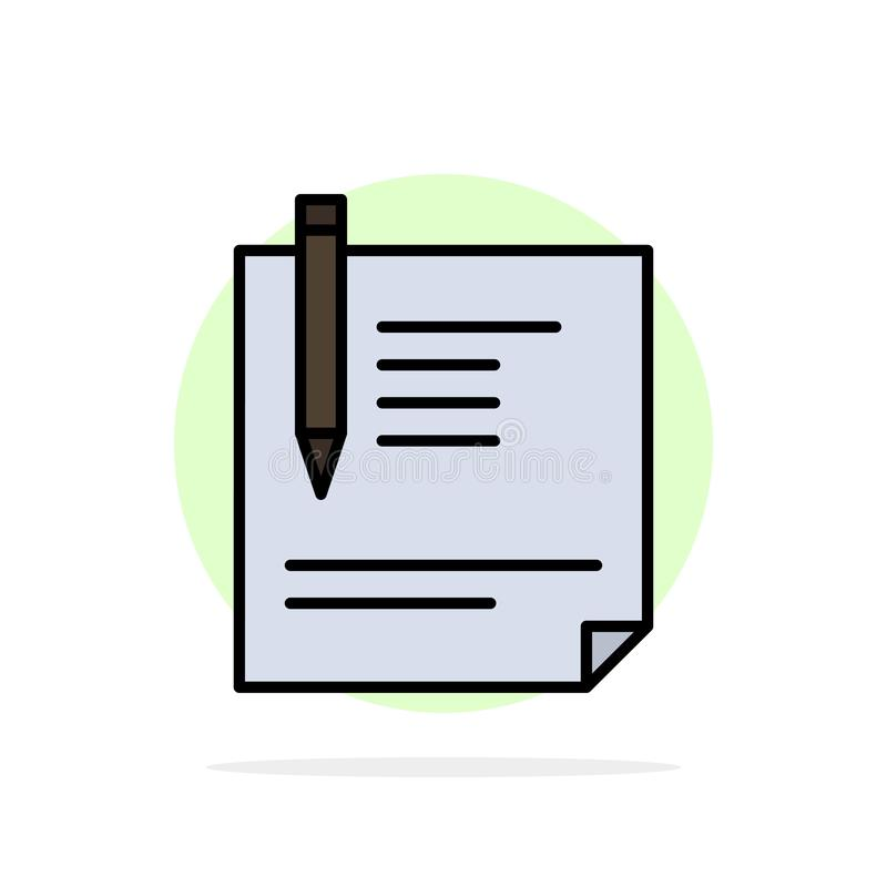 Contract, Document, File, Page, Paper, Sign, Signing Abstract Circle Background Flat color Icon stock illustration