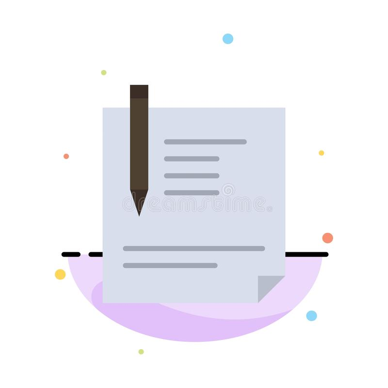 Contract, Document, File, Page, Paper, Sign, Signing Abstract Flat Color Icon Template royalty free illustration