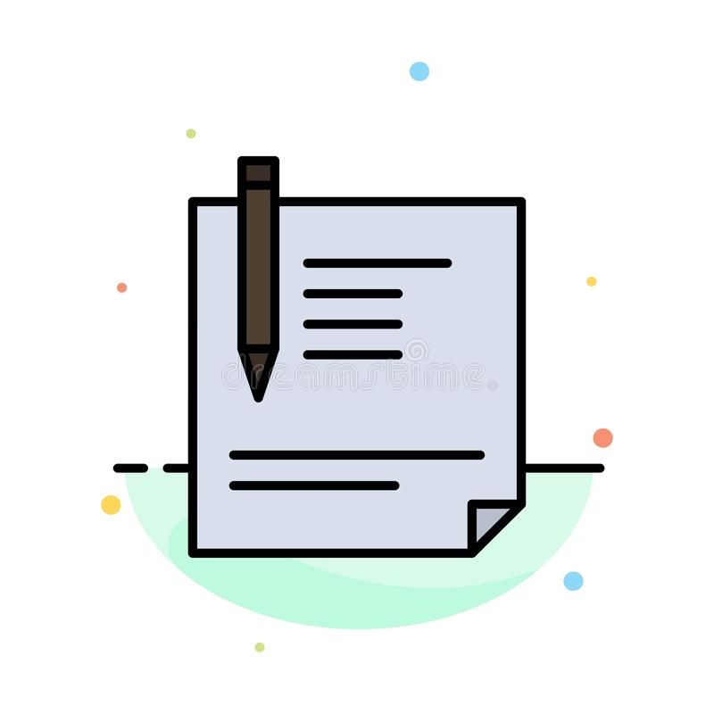 Contract, Document, File, Page, Paper, Sign, Signing Abstract Flat Color Icon Template stock illustration