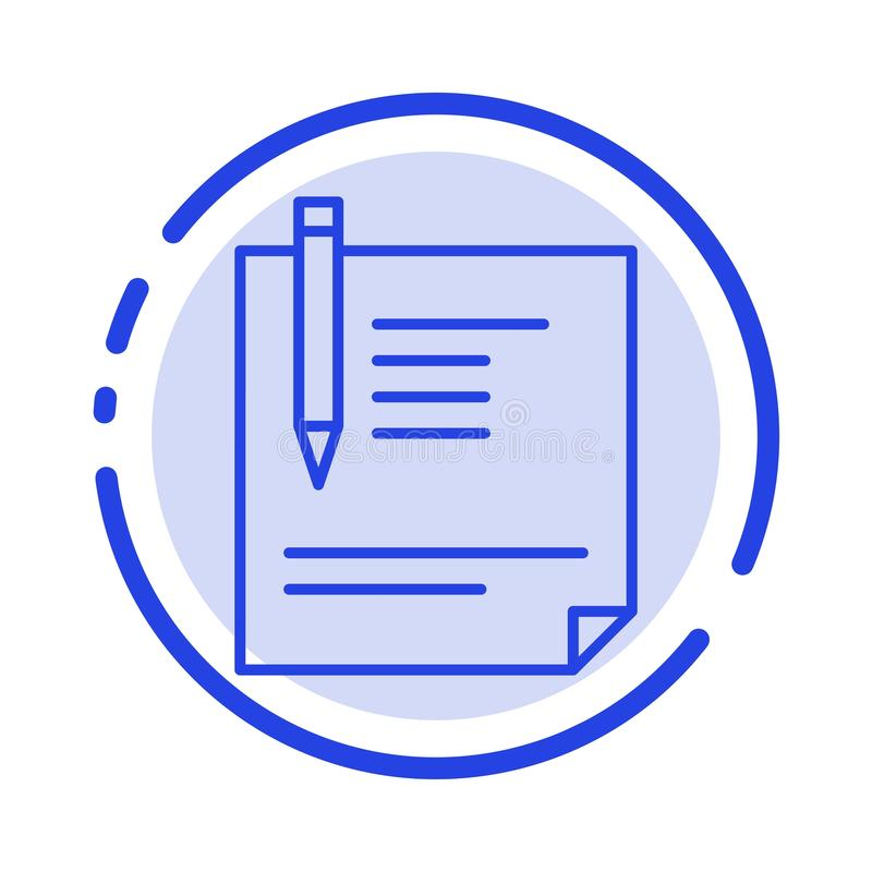 Contract, Document, File, Page, Paper, Sign, Signing Blue Dotted Line Line Icon vector illustration