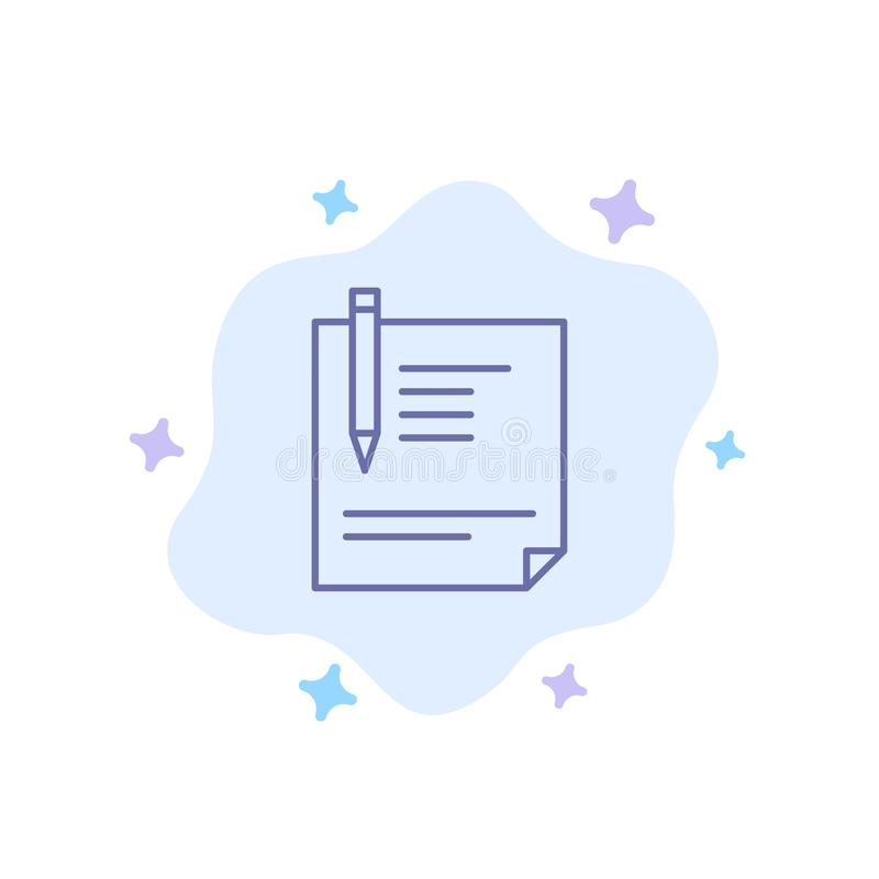 Contract, Document, File, Page, Paper, Sign, Signing Blue Icon on Abstract Cloud Background stock illustration