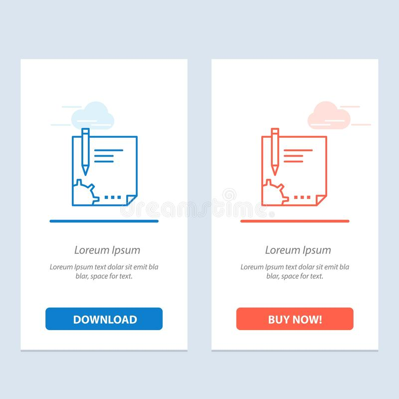 Contract, Document, File, Page, Paper, Sign, Signing  Blue and Red Download and Buy Now web Widget Card Template royalty free illustration
