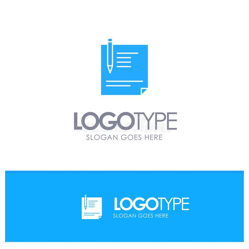 Contract, Document, File, Page, Paper, Sign, Signing Blue Solid Logo with place for tagline royalty free illustration