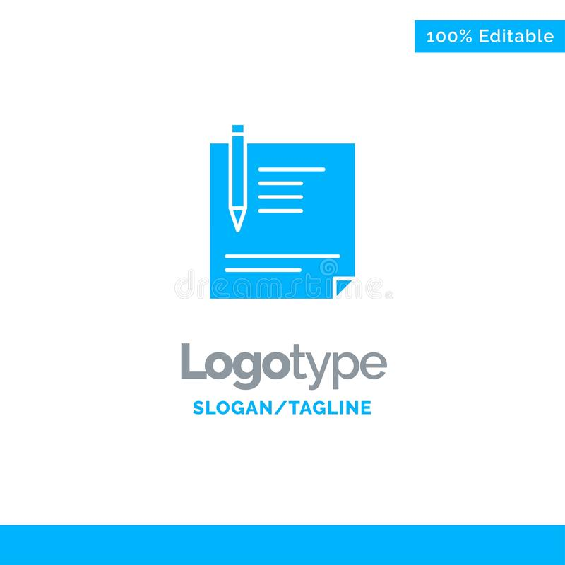 Contract, Document, File, Page, Paper, Sign, Signing Blue Solid Logo Template. Place for Tagline vector illustration