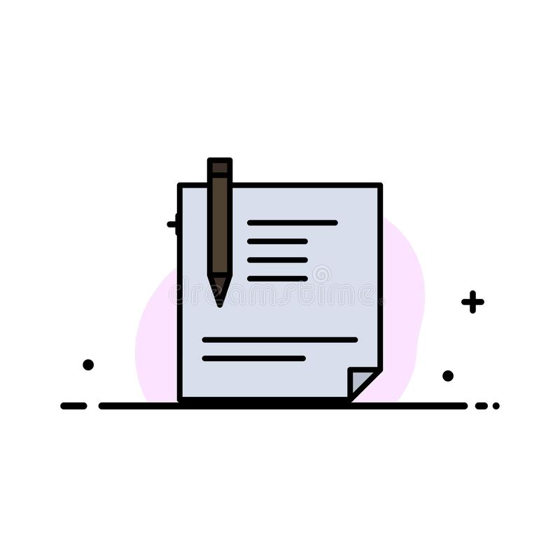 Contract, Document, File, Page, Paper, Sign, Signing  Business Flat Line Filled Icon Vector Banner Template vector illustration