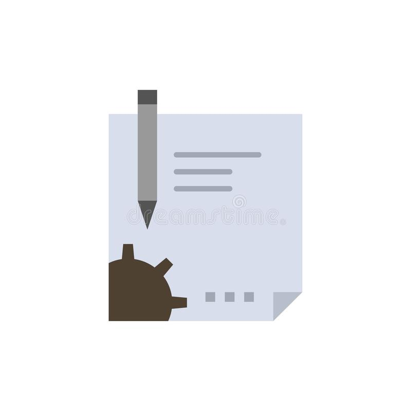 Contract, Document, File, Page, Paper, Sign, Signing  Flat Color Icon. Vector icon banner Template stock illustration