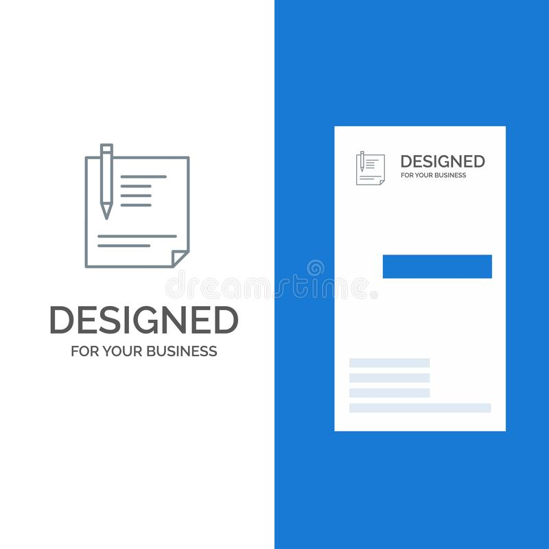 Contract, Document, File, Page, Paper, Sign, Signing Grey Logo Design and Business Card Template royalty free illustration