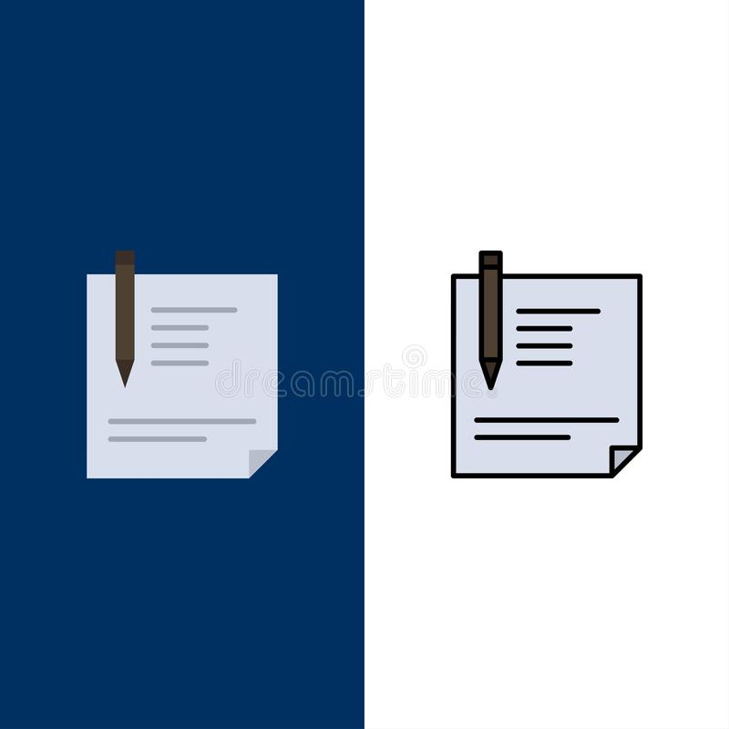 Contract, Document, File, Page, Paper, Sign, Signing  Icons. Flat and Line Filled Icon Set Vector Blue Background royalty free illustration