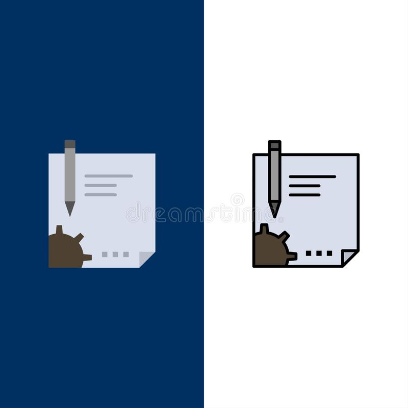 Contract, Document, File, Page, Paper, Sign, Signing  Icons. Flat and Line Filled Icon Set Vector Blue Background vector illustration