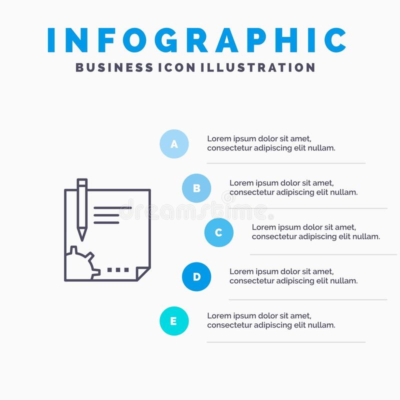 Contract, Document, File, Page, Paper, Sign, Signing Line icon with 5 steps presentation infographics Background stock illustration