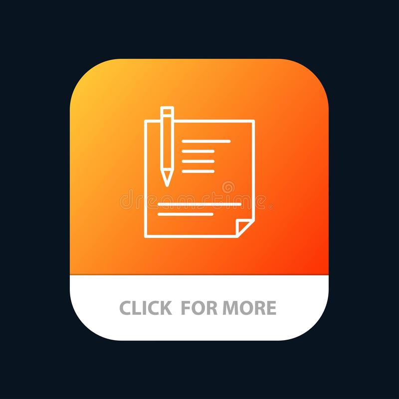 Contract, Document, File, Page, Paper, Sign, Signing Mobile App Button. Android and IOS Line Version vector illustration