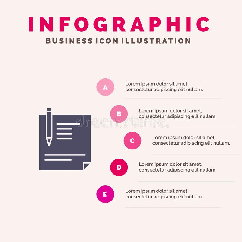 Contract, Document, File, Page, Paper, Sign, Signing Solid Icon Infographics 5 Steps Presentation Background royalty free illustration