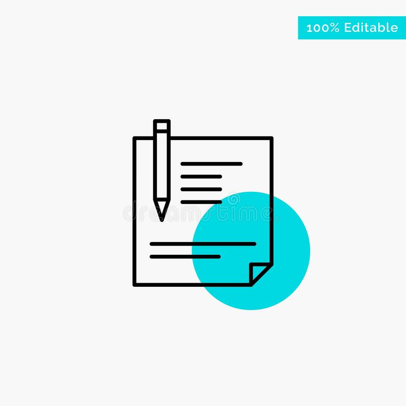 Contract, Document, File, Page, Paper, Sign, Signing turquoise highlight circle point Vector icon stock illustration