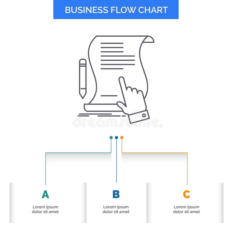 Contract, document, paper, sign, agreement, application Business Flow Chart Design with 3 Steps. Line Icon For Presentation. Background Template Place for text vector illustration