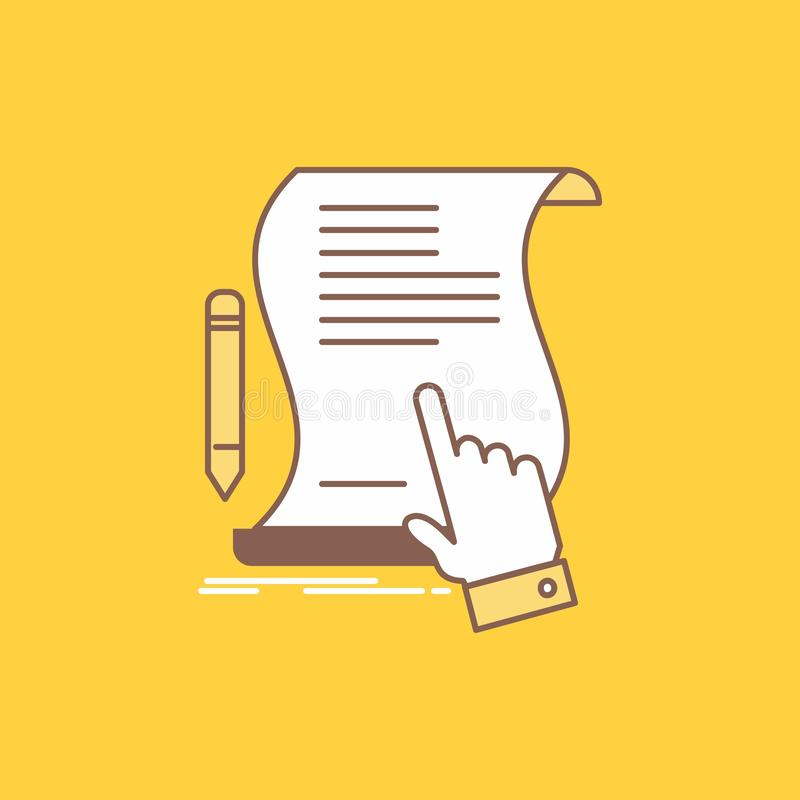 Contract, document, paper, sign, agreement, application Flat Line Filled Icon. Beautiful Logo button over yellow background for UI. And UX, website or mobile royalty free illustration