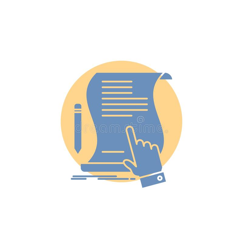 Contract, document, paper, sign, agreement, application Glyph Icon. Vector EPS10 Abstract Template background stock illustration