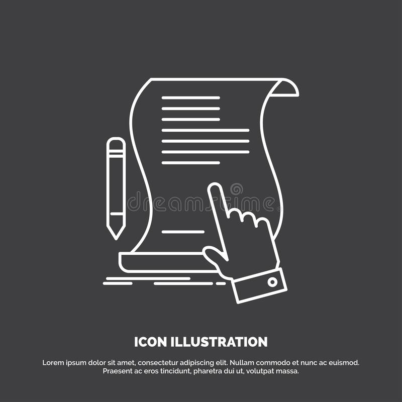 Contract, document, paper, sign, agreement, application Icon. Line vector symbol for UI and UX, website or mobile application. Vector EPS10 Abstract Template vector illustration