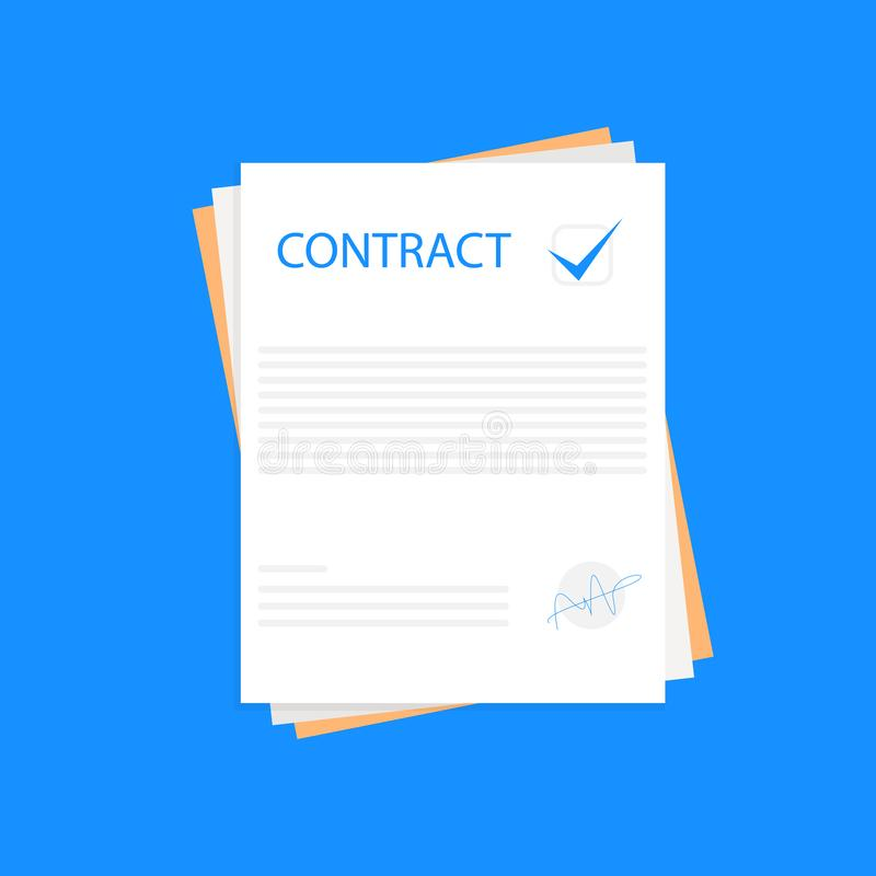 Contract or document signing icon. Signing contract simple style on a blue background, vector. Illustration, eps file vector illustration