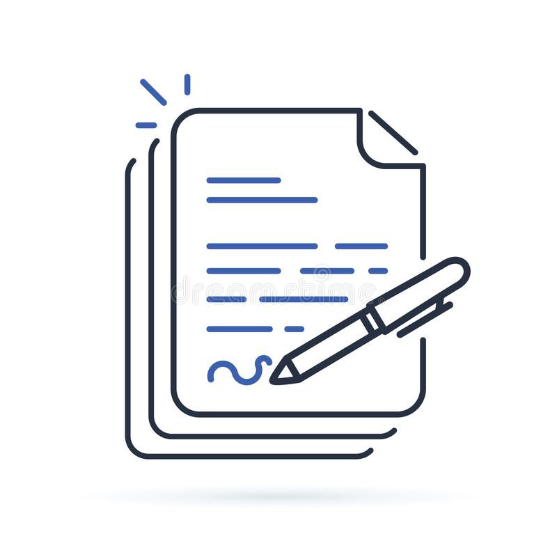 Contract, Document signing. Paper documents pile with signature royalty free illustration
