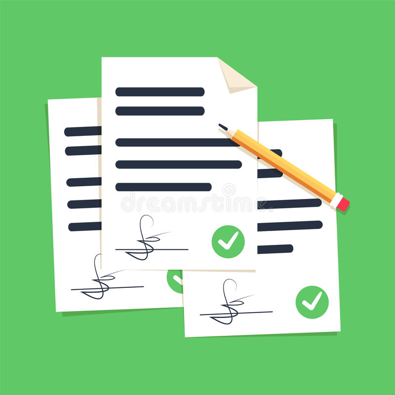Contract documents pile vector illustration, flat cartoon stack of agreements document with signature and approval. Contract documents pile vector illustration vector illustration
