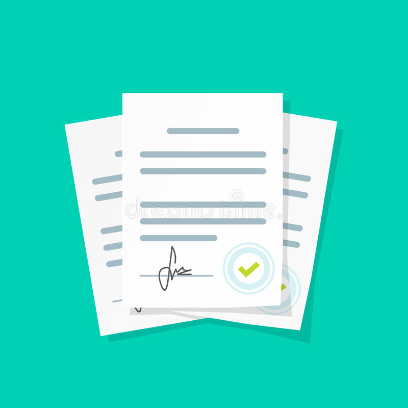 Contract documents pile vector illustration, stack of agreements document with signature and approval stamp. Contract documents pile vector illustration, flat stock illustration