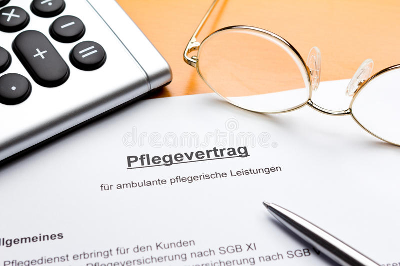 Contract domestic nursing services pflegevertrag stock photos