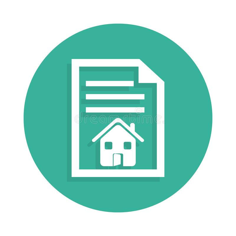 contract at home icon in Badge style with shadow stock illustration