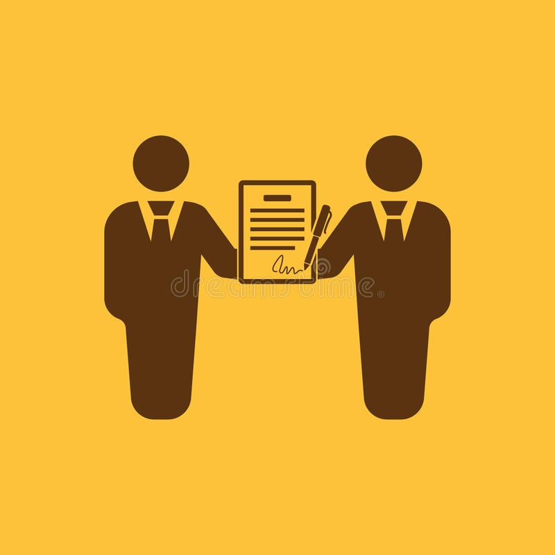 The contract icon. Agreement and signature, pact, partnership, negotiation symbol. Flat stock illustration