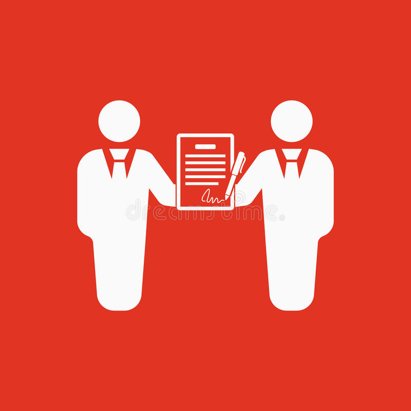 The contract icon. Agreement and signature, pact, partnership, negotiation symbol. Flat royalty free illustration