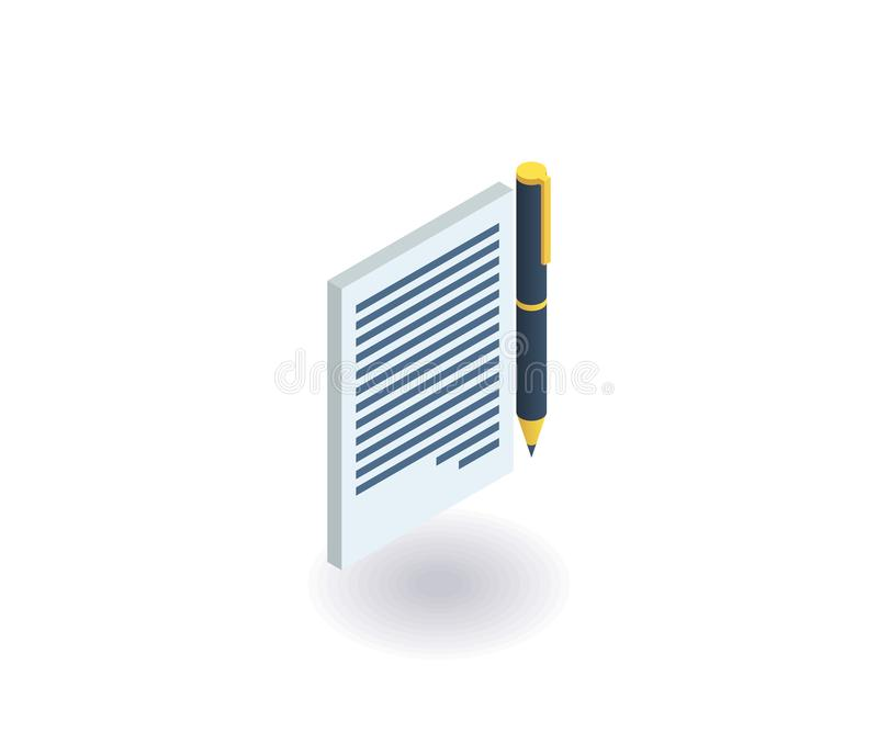 Contract icon. Vector illustration in flat isometric 3D style.  vector illustration