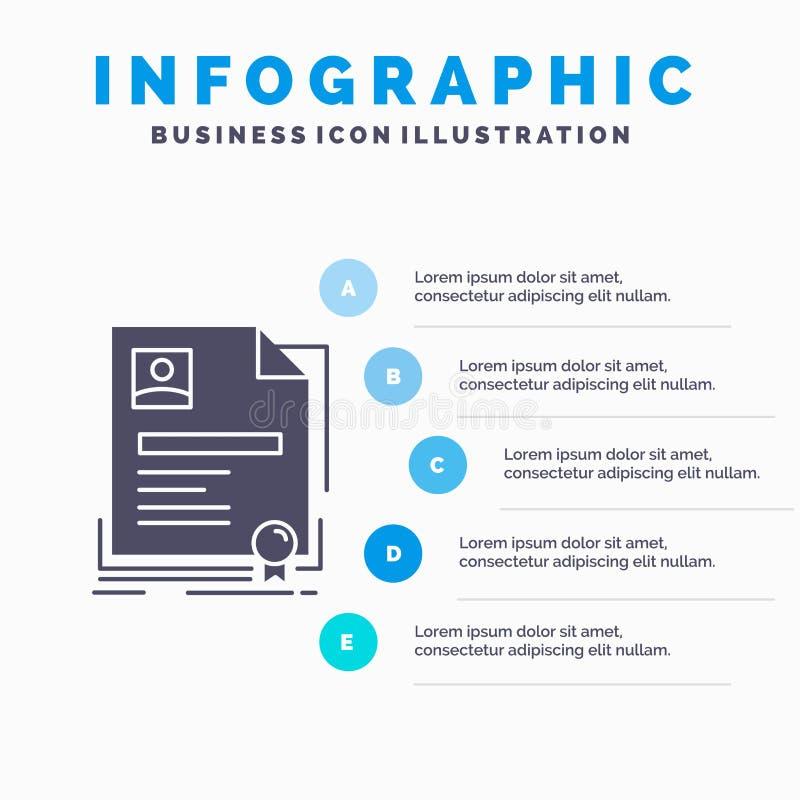 Contract, kenteken, Zaken, overeenkomst, het Malplaatje van certificaatinfographics voor Website en Presentatie GLyph Grijs picto royalty-vrije illustratie