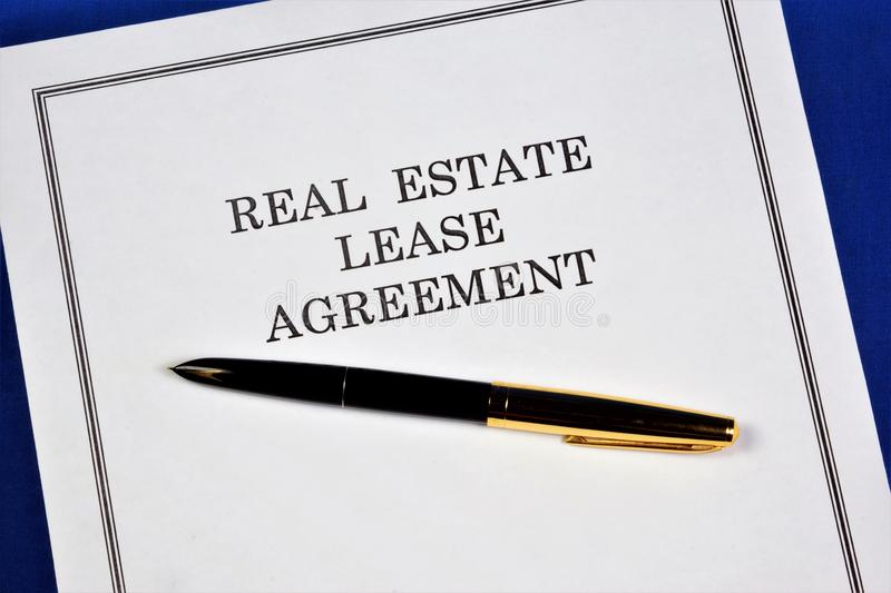 The contract of lease of real estate-renting.Form of property transaction, the property is transferred to temporary possession,. Use, paid rent, depreciation of stock image