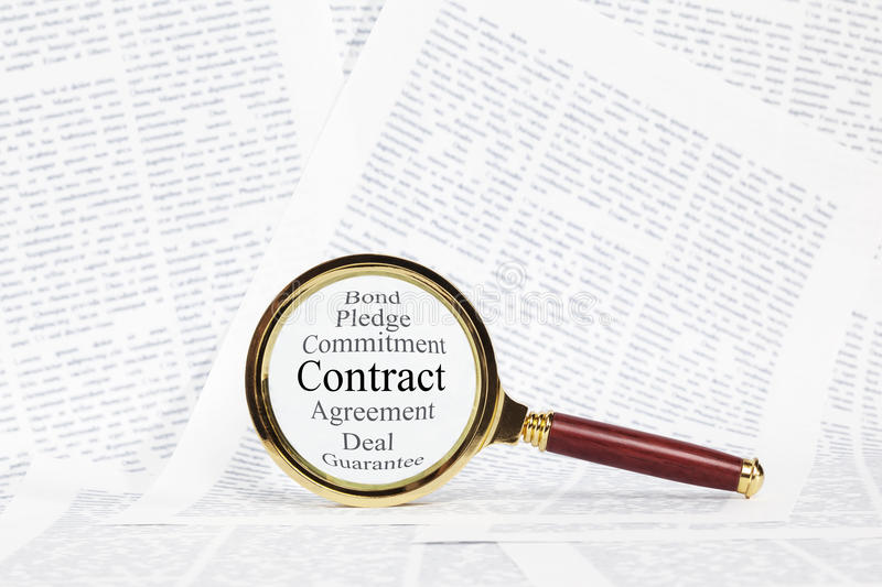 Contract And Magnifying Glass Concept Stock Photo  Image
