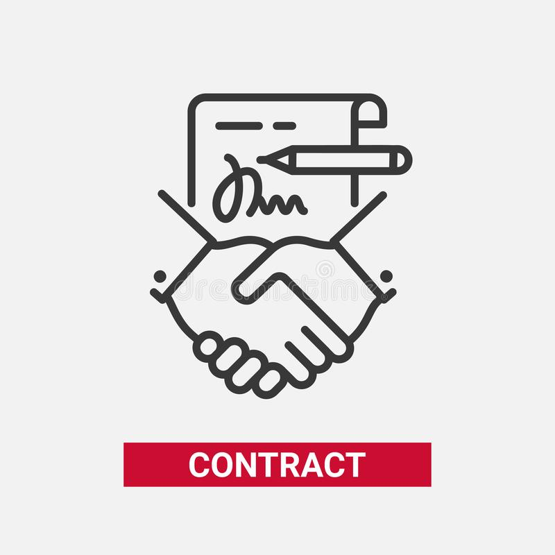 Contract - modern vector line design single icon. Contract - modern vector single line design single icon. A black and white image depicting a paper agreement vector illustration