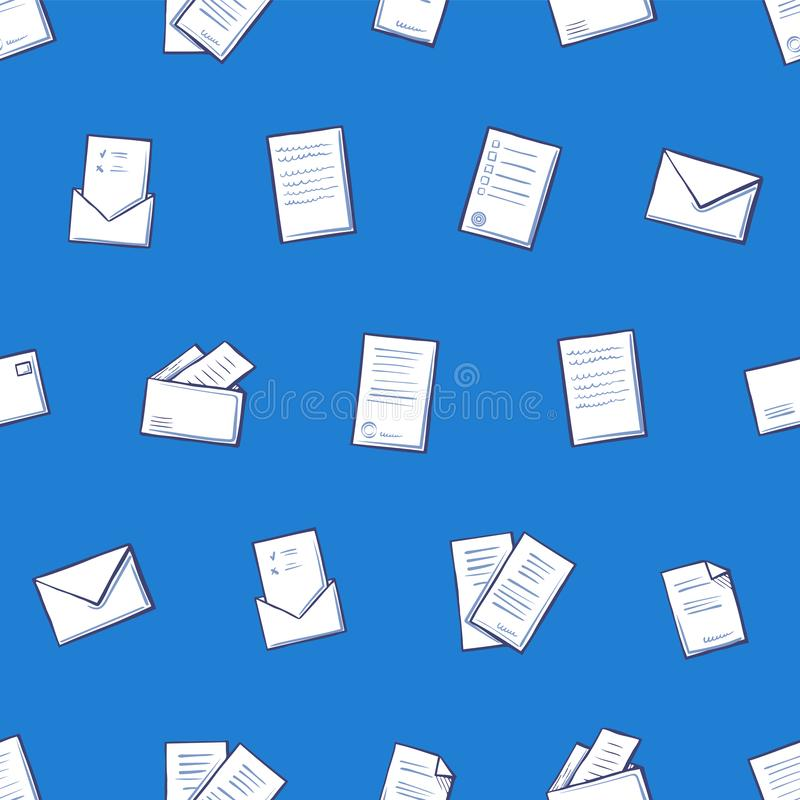Contract Pages and Envelope Seamless Pattern Icons stock illustration
