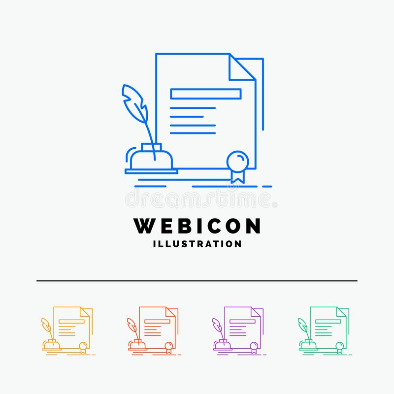 Contract, paper, document, agreement, award 5 Color Line Web Icon Template isolated on white. Vector illustration. Vector EPS10 Abstract Template background vector illustration