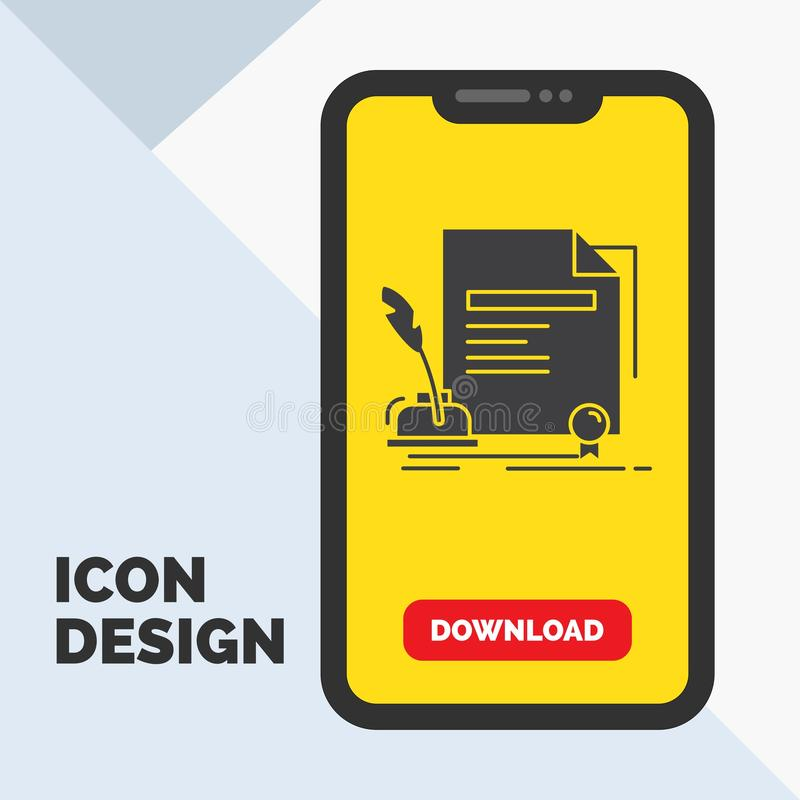 Contract, paper, document, agreement, award Glyph Icon in Mobile for Download Page. Yellow Background. Vector EPS10 Abstract Template background stock illustration
