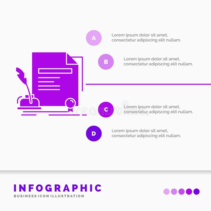 contract, paper, document, agreement, award Infographics Template for Website and Presentation. GLyph Purple icon infographic vector illustration