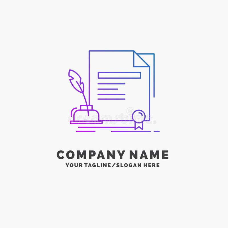 contract, paper, document, agreement, award Purple Business Logo Template. Place for Tagline stock illustration