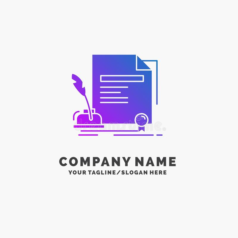 contract, paper, document, agreement, award Purple Business Logo Template. Place for Tagline royalty free illustration