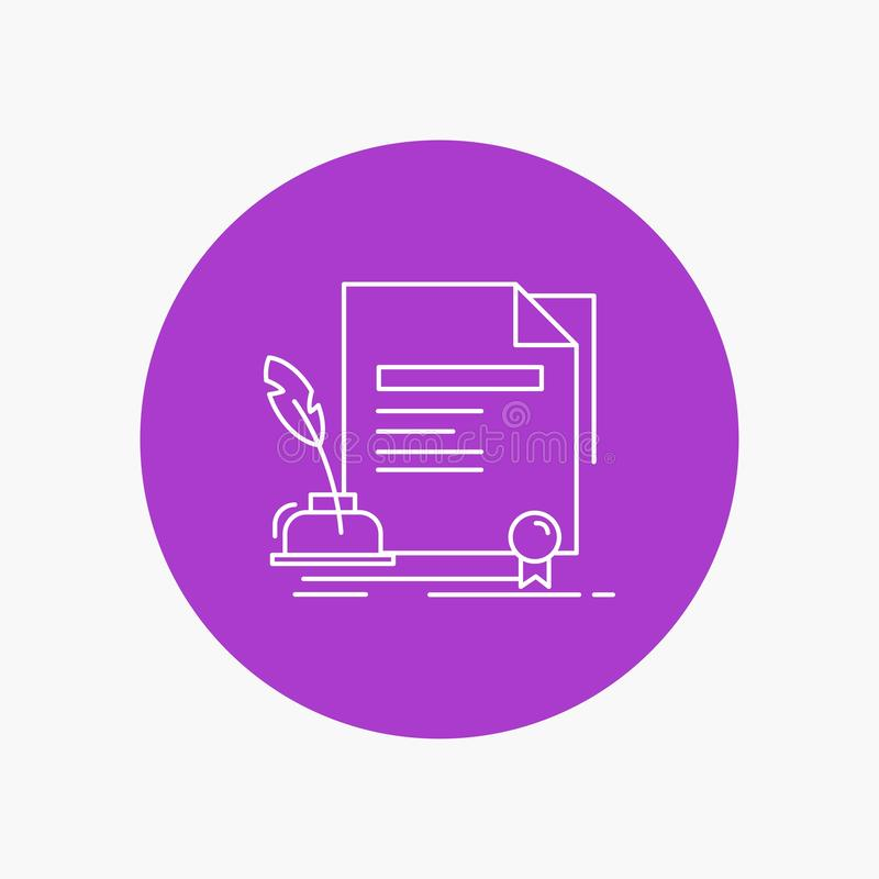 Contract, paper, document, agreement, award White Line Icon in Circle background. vector icon illustration. Vector EPS10 Abstract Template background royalty free illustration